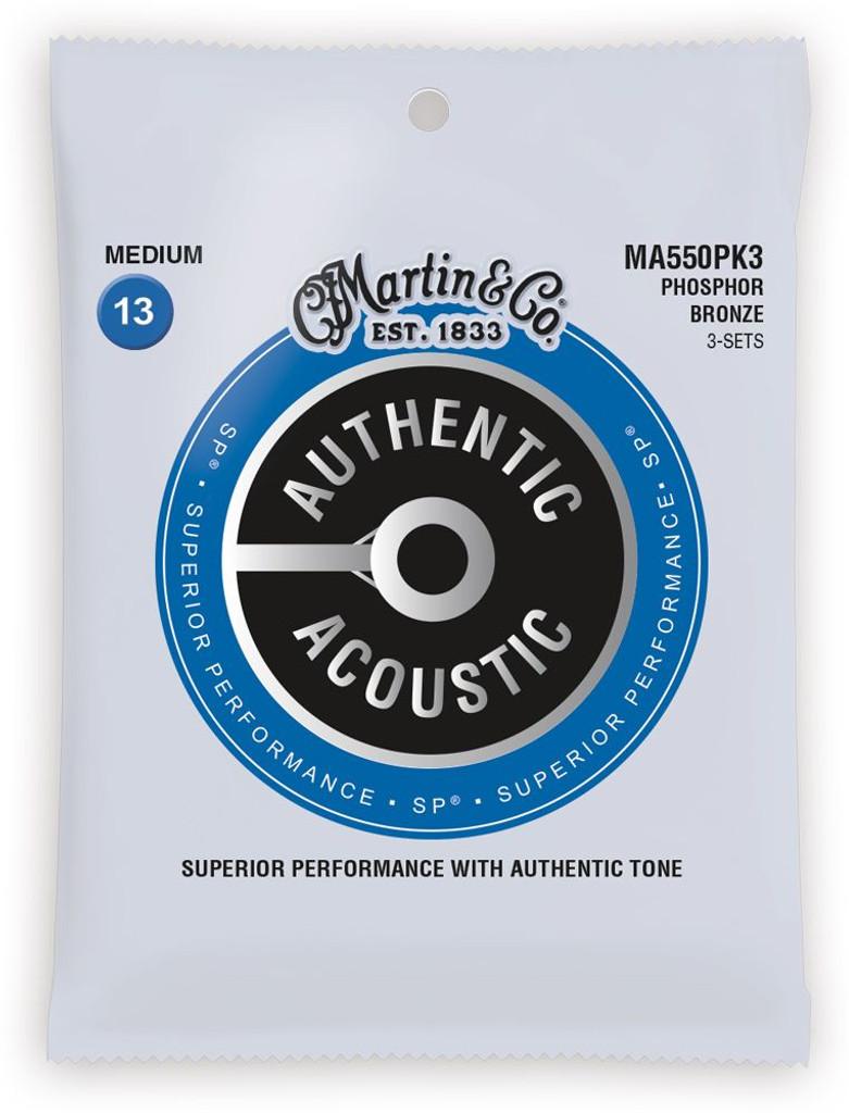 Martin 3 Pack MA550PK3 SP Phosphor Bronze Authentic Acoustic Guitar Strings Medium 13-56