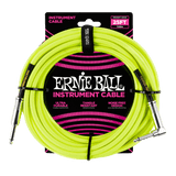 Ernie Ball 25' BRAIDED STRAIGHT / ANGLE INSTRUMENT CABLE - NEON YELLOW