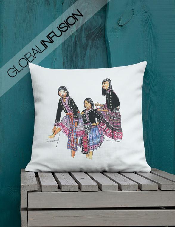 Women of  Nepal Ethnic Art Throw Pillow