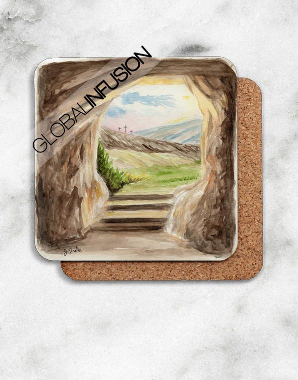 Jesus' Empty Tomb Watercolor Cork-back Coasters Set