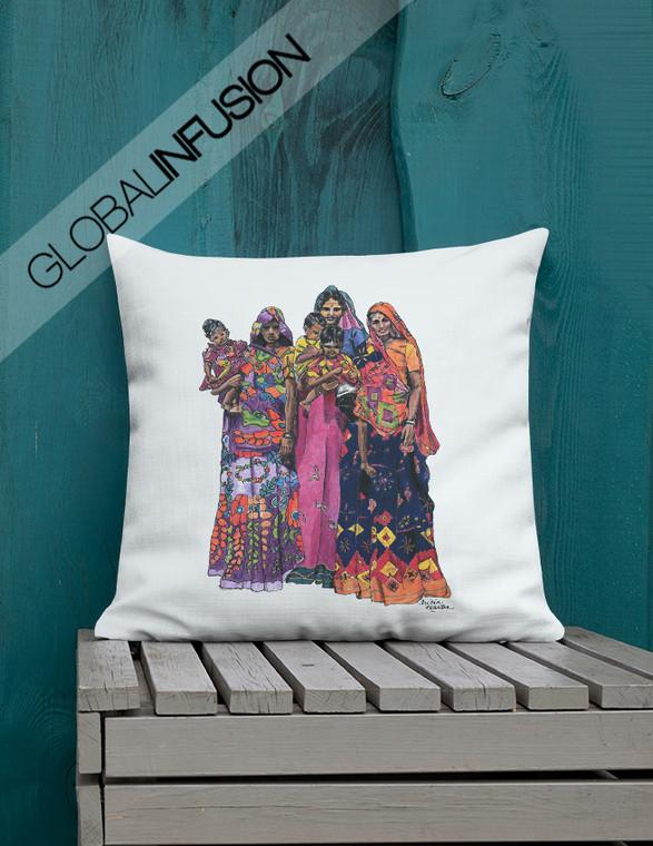 Women of  India Ethnic Art Throw Pillow