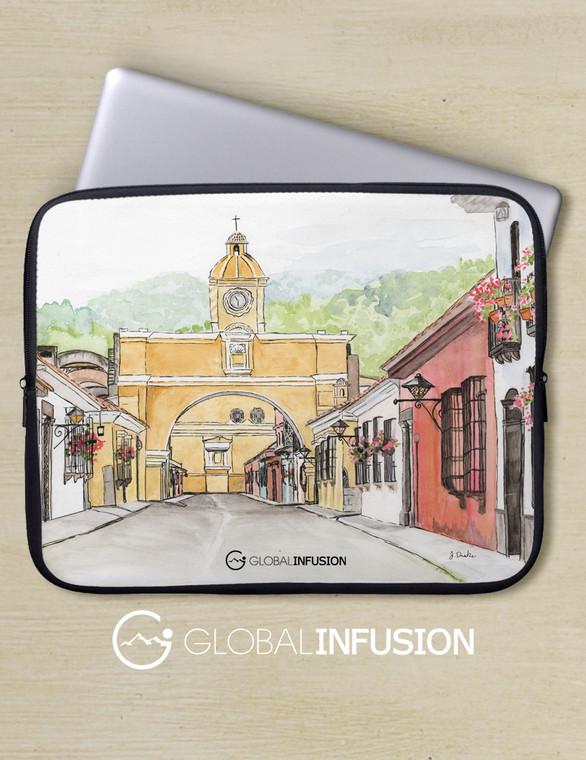 Antigua Guatemala Watercolor Art Laptop Sleeve
