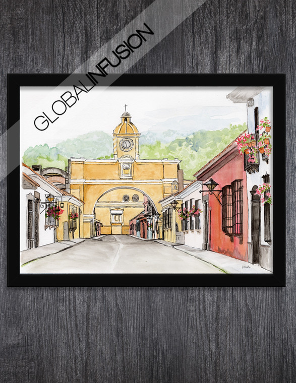 Antigua Guatemala Landscape Watercolor Giclée Art Print