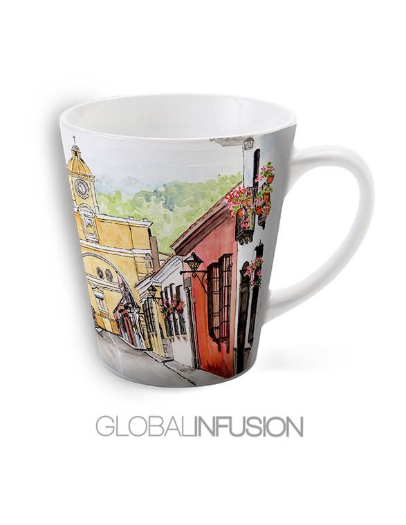 Antigua Guatemala Watercolor Art Latte Coffee Mug
