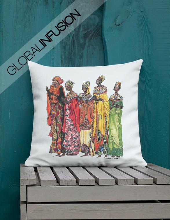 Women of Africa Ethnic Art Throw Pillow