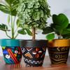 Black Abstract Art Terra Cotta Pot