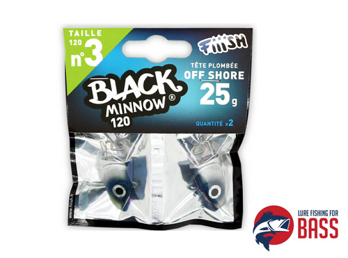 Fiiish Black Minnow Off Shore Jig Head Blue 25g pack