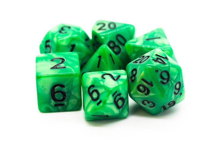 Old School 7 Piece DnD RPG Dice Set: Pearl Drop - Forest Green w/ Black