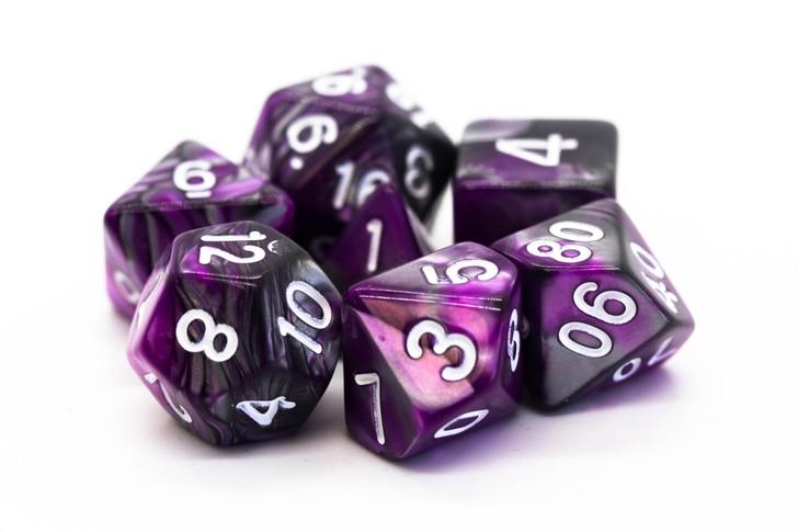 Old School 7 Piece DnD RPG Dice Set: Vorpal - Silver & Purple
