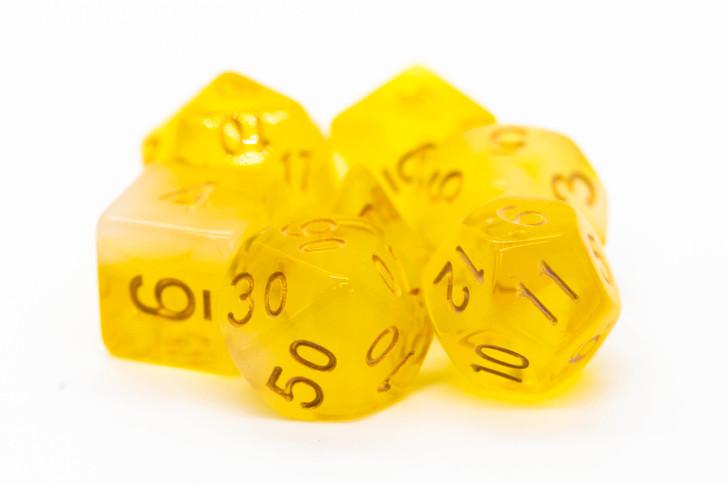 Old School 7 Piece DnD RPG Dice Set: Nebula - Yellow
