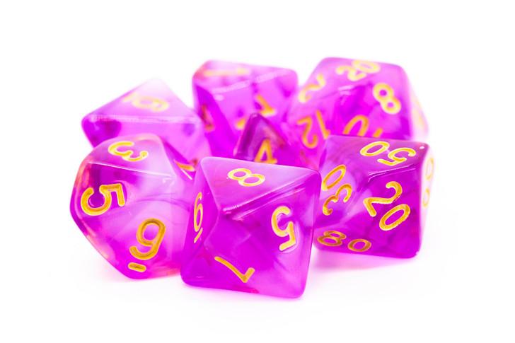 Old School 7 Piece DnD RPG Dice Set: Nebula - Light Purple