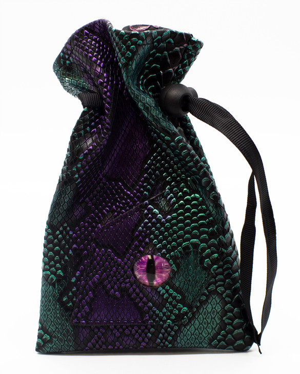 Dragon Eye RPG DnD Dice Bag: Spectral Dragon - Purple & Green
