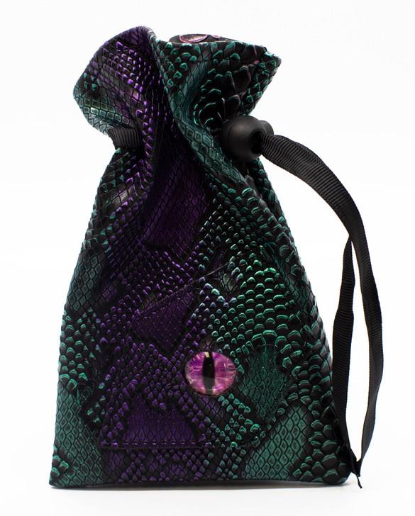 Dragon Eye RPG DnD Dice Bag: Spectral Dragon - Purple & Green