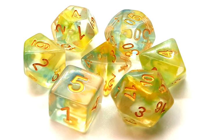 Old School 7 Piece DnD RPG Dice Set: Nebula - Yellow & Blue