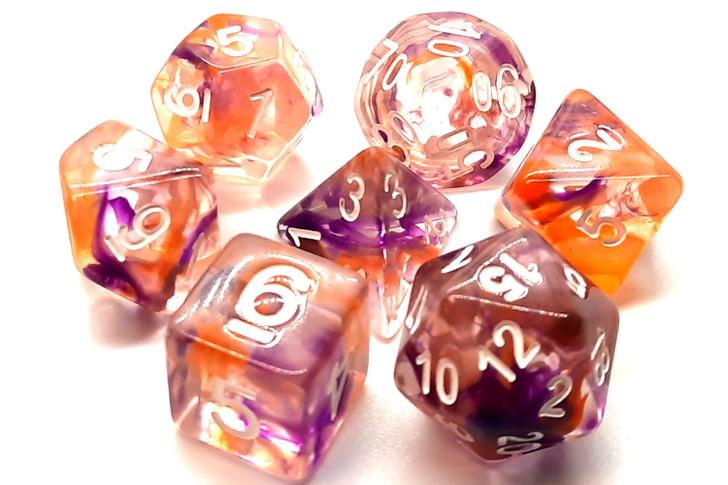 Old School 7 Piece DnD RPG Dice Set: Nebula - Purple & Orange
