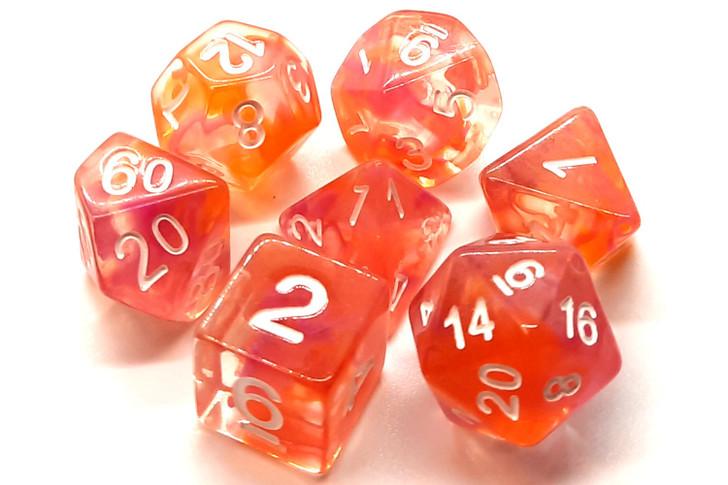 Old School 7 Piece DnD RPG Dice Set: Nebula - Orange & Pink