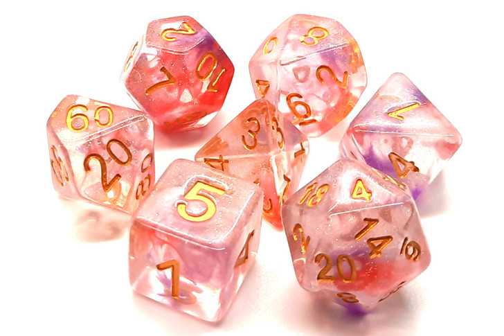 Old School 7 Piece DnD RPG Dice Set: Luminous - Red Ruby