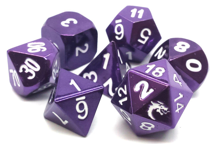 Old School 7 Piece DnD RPG Metal Dice Set: Halfling Forged - Electric Purple