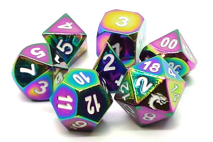 Old School 7 Piece DnD RPG Metal Dice Set: Halfling Forged - Brilliant Rainbow