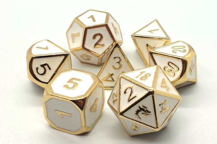 Old School 7 Piece DnD RPG Metal Dice Set: Elven Forged - White w/ Gold