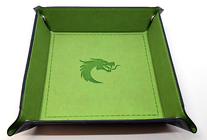 Old School RPG Dice Rolling Tray: Square - Green w/ Blue Back