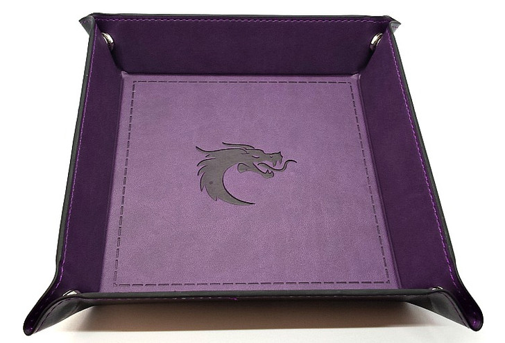 Old School RPG Dice Rolling Tray: Square - Purple w/ Black Back