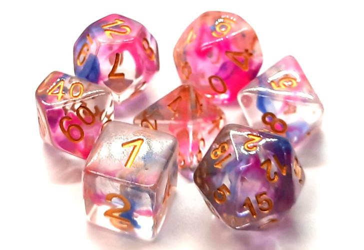 Old School 7 Piece DnD RPG Dice Set: Nebula - Rose Red & Blue