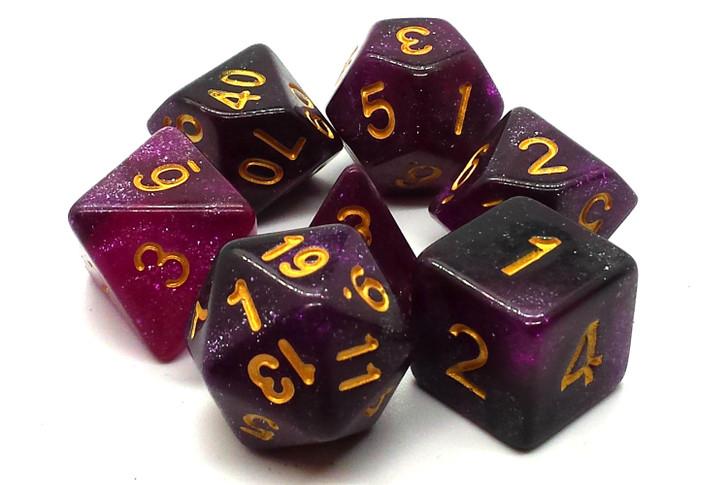 Old School 7 Piece DnD RPG Dice Set: Galaxy - Purple & Black