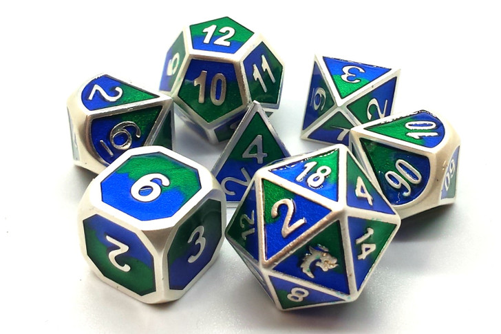 Old School 7 Piece DnD RPG Metal Dice Set: Dragon Forged - Platinum Blue & Green