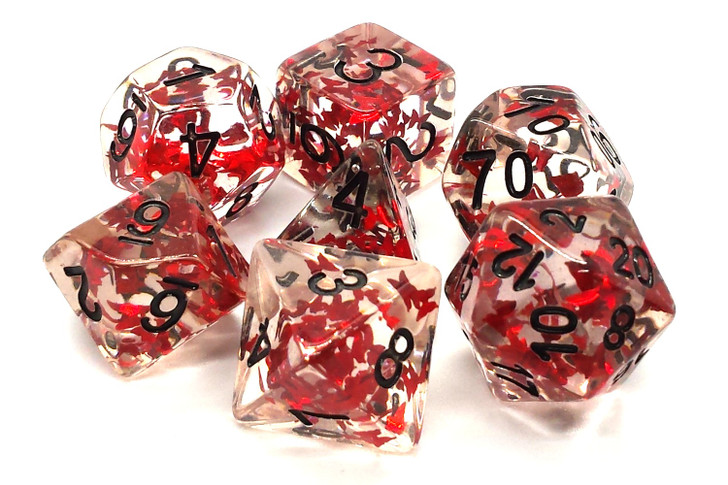 Old School 7 Piece DnD RPG Dice Set: Infused - Red Butterfly w/ Black