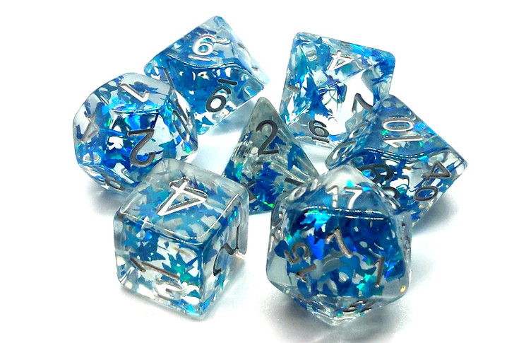 Old School 7 Piece DnD RPG Dice Set: Infused - Blue Butterly w/ Silver