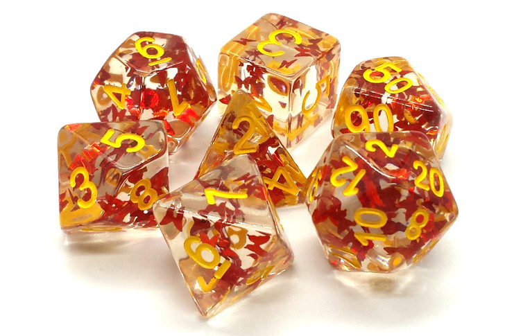 Old School 7 Piece DnD RPG Dice Set: Infused - Orange Butterly w/ Yellow