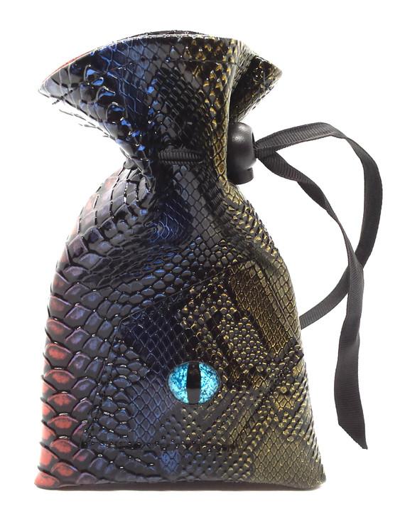 Dragon Eye RPG DnD Dice Bag: Spectral Dragon - Blue & Gold
