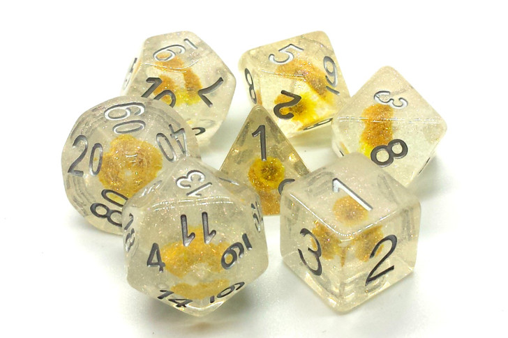 Old School 7 Piece DnD RPG Dice Set: Infused - Iridescent Yellow Flower