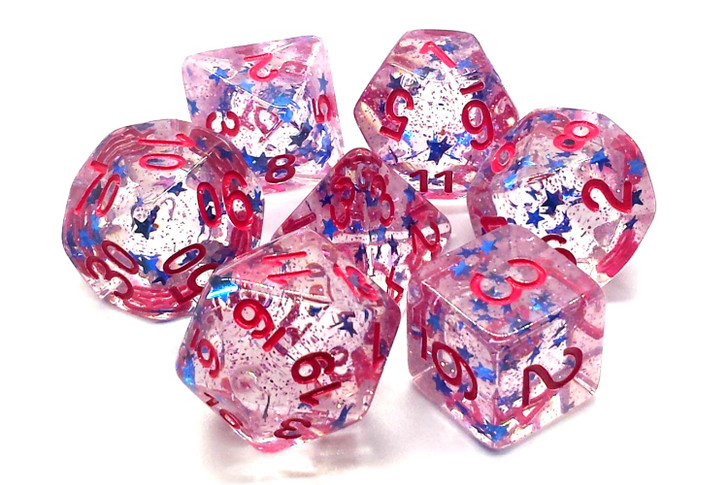 Old School 7 Piece DnD RPG Dice Set: Infused - Blue Stars w/ Red