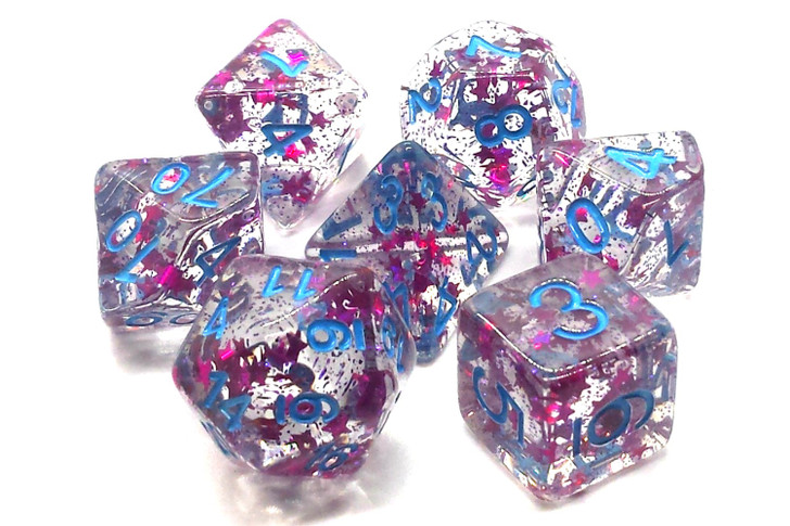 Old School 7 Piece DnD RPG Dice Set: Infused - Red Stars w/ Blue