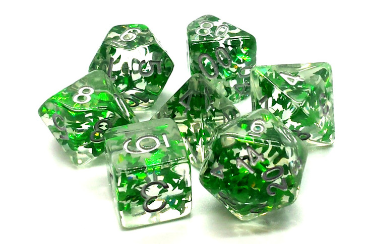 Old School 7 Piece DnD RPG Dice Set: Infused - Green Butterfly w/ Silver