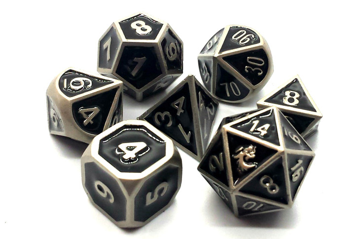Old School 7 Piece DnD RPG Metal Dice Set: Elven Forged - Black w/ Silver
