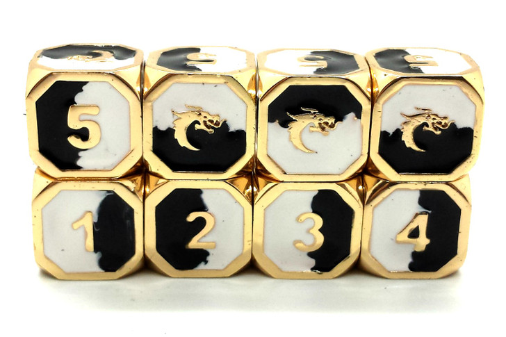 Old School DnD RPG Metal Dice D6 Set: Dragon Forged - Black & White w/ Gold
