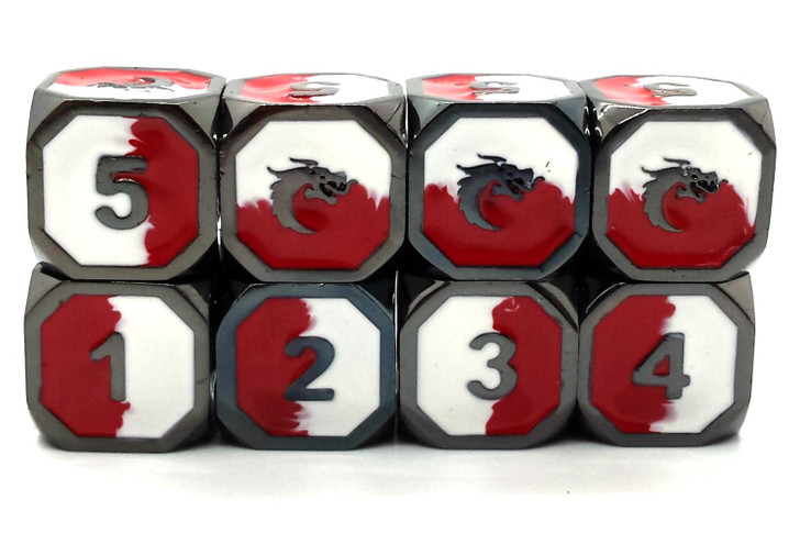 Old School DnD RPG Metal Dice D6 Set: Dragon Forged - Red & White w/ Black Nickel