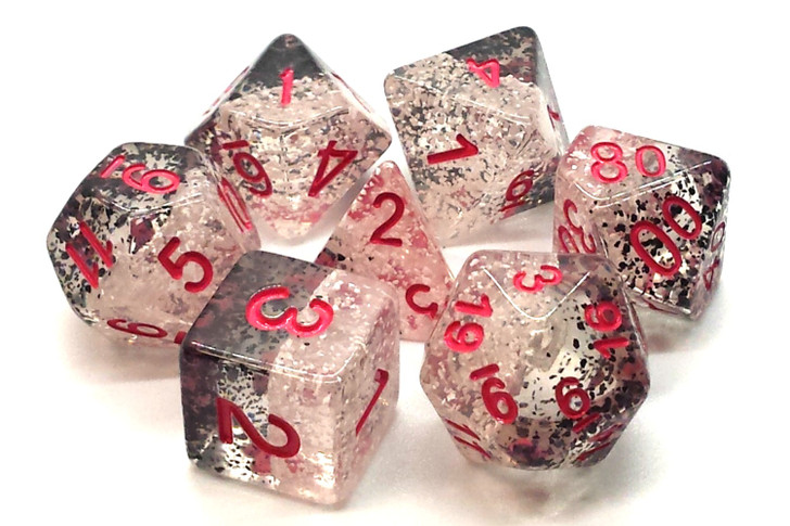 Old School 7 Piece DnD RPG Dice Set: Particles - Checkmate