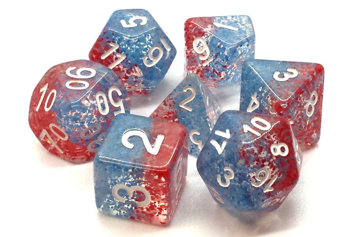 Old School 7 Piece DnD RPG Dice Set: Particles - Red Fish Blue Fish
