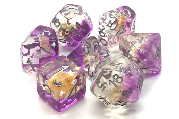 Old School 7 Piece DnD RPG Dice Set: Infused - Beach Party - Purple