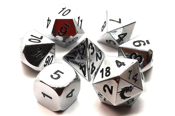 Old School 7 Piece DnD RPG Metal Dice Set: Halfling Forged - Shiny Silver