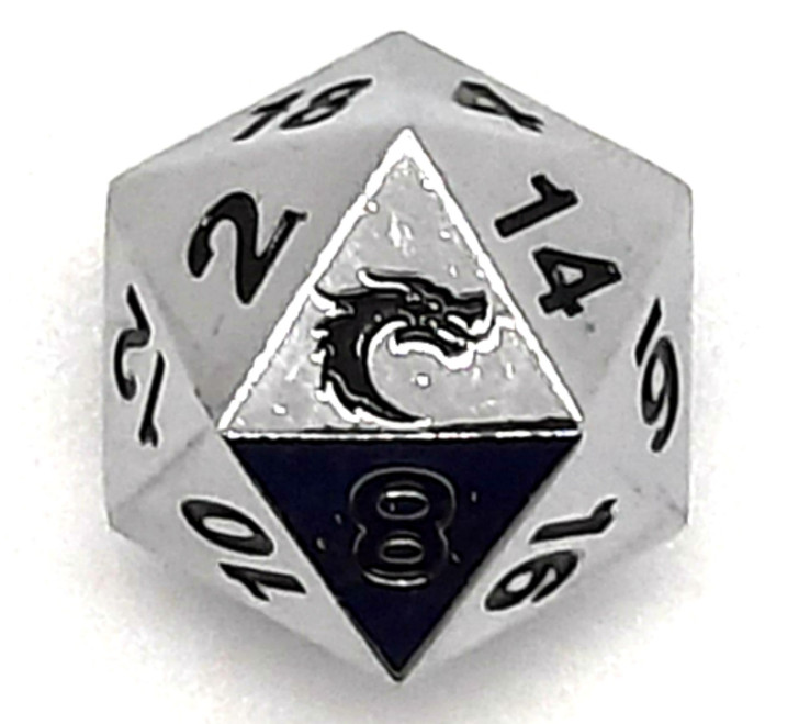 Old School DnD RPG Metal D20: Halfling Forged - Shiny Silver