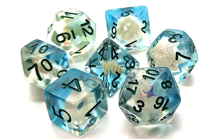 Old School 7 Piece DnD RPG Dice Set: Infused - Beach Party - Ocean Blue