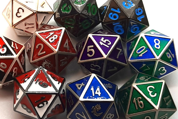 Old School DnD RPG Metal D20 (Random set of 4)