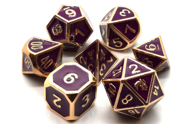 Old School 7 Piece DnD RPG Metal Dice Set: Elven Forged - Purple w/ Gold