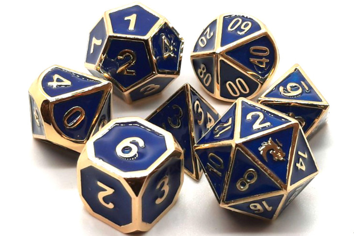 Old School 7 Piece DnD RPG Metal Dice Set: Elven Forged - Blue w/ Gold