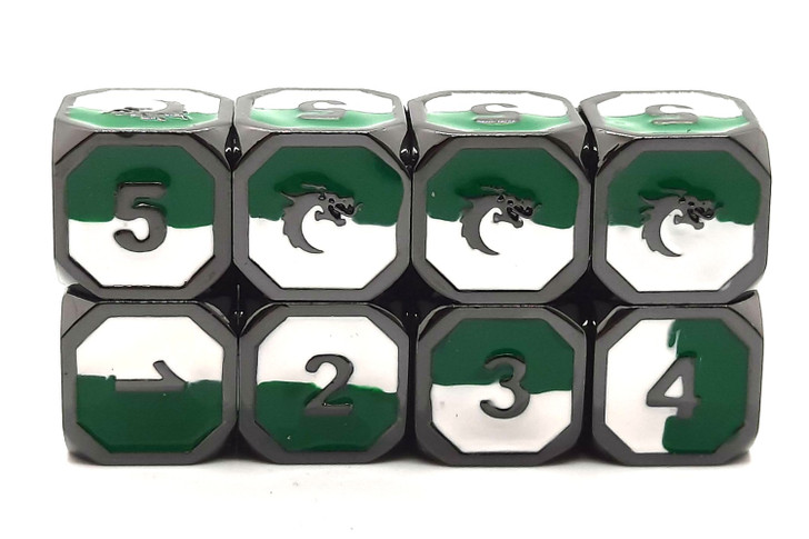 Old School DnD RPG Metal Dice D6 Set: Dragon Forged - Green & White w/ Black Nickel